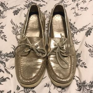 Gold Metallic Sperry Boat Shoes. Size 8.5.